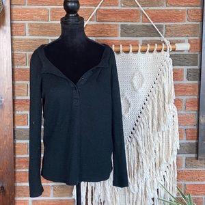 YOINS Black Long Sleeved Shirt